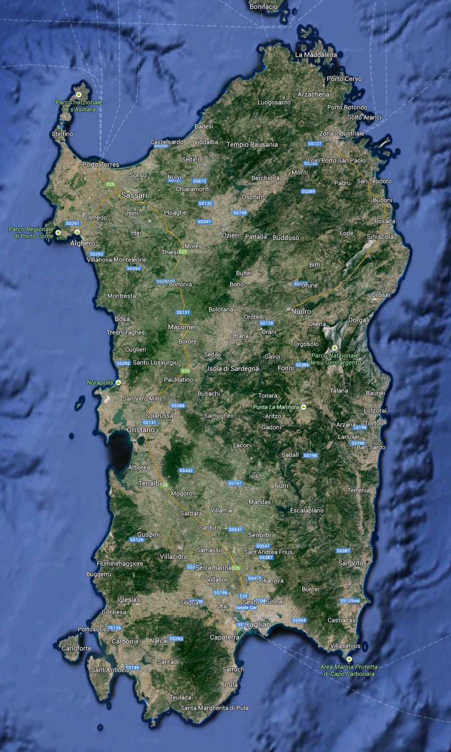 Sardinia Map South Italy (kindly in use by GoogleMaps)